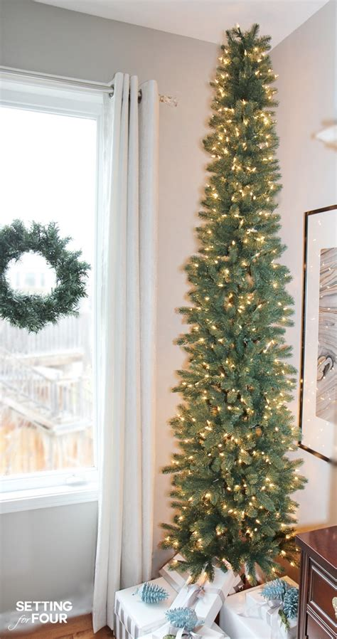 decorating skinny christmas tree a pencil tree style for narrow spaces setting for four