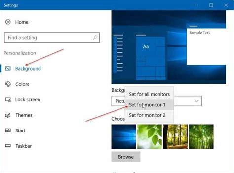 Dual Monitor Separate Wallpaper Windows 10