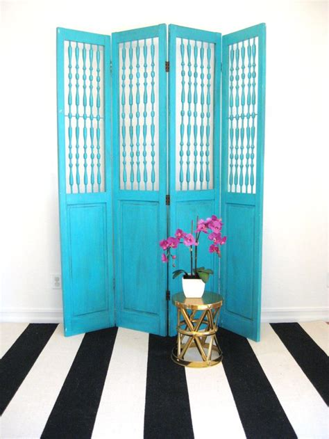 vintage room dividers vintage turquoise blue room divider screen from reclaimed