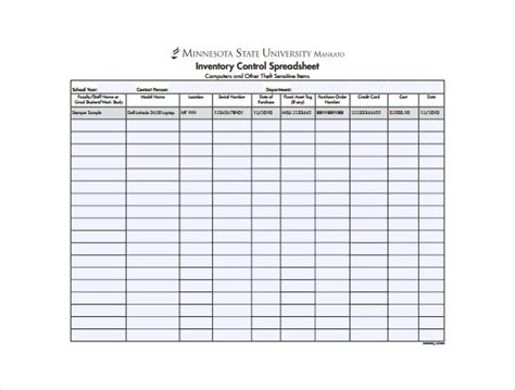 inventory sheet sle free download printables