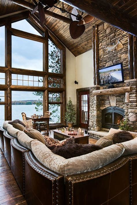 stunning lake house great room fireplace floor to