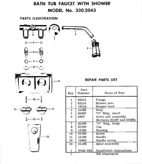 bathtub faucet parts diagram bathtub faucet repair question