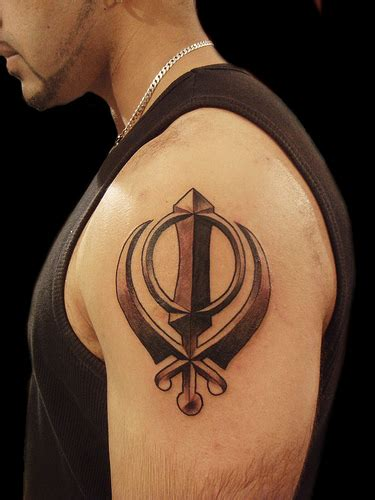 khanda sikh symbol tattoo miguel angel custom tattoo