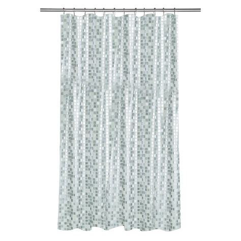 shower curtain track home depot croydex shower curtain in mosaic silver ae543440yw the