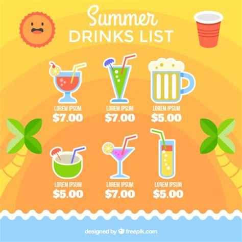 Summertime Drink List Template Vector Free Download Drink List Template