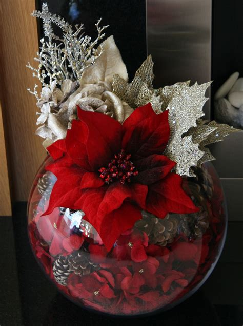 Our Stunning Christmas Poinsettia Gold Rose And Centerpiece Bowls For Decoration
