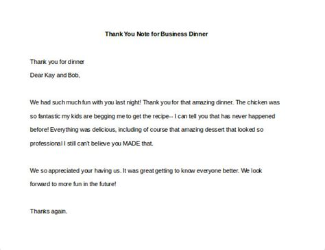 thank you letter for business dinner invitation 8 thank you note for dinner free sle exle