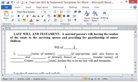 free last will and testament template for word