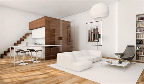 studio bed 45 sqm modern studio apartment design idea with mezzanine