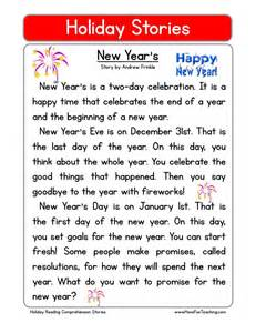 reading comprehension worksheet new year s