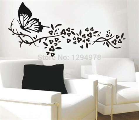 large wall decals for bedroom 118 72cm black butterfly flower living room vinyl wall art