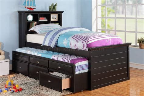 Kid Trundle Bed Set F9219 Bedroom 3pc Set By Poundex In Black W Trundle Bed