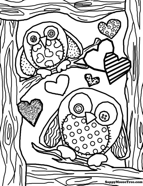free coloring pages of random adult owl