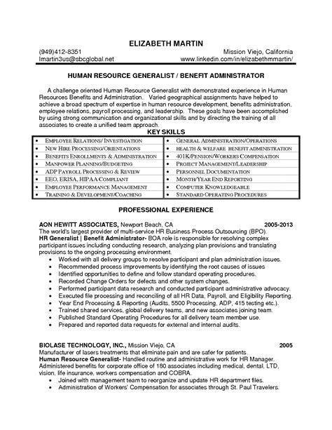 employee benefits administrator resume sales