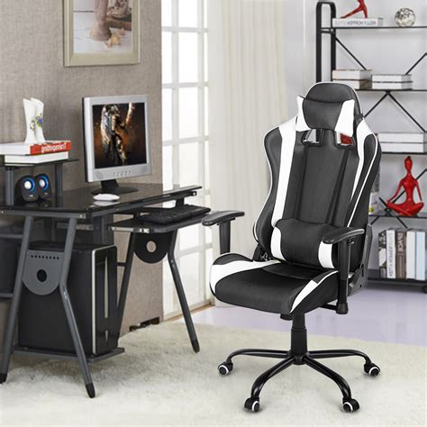 racing gaming desk chair white ikayaa ergonomic racing gaming office computer desk