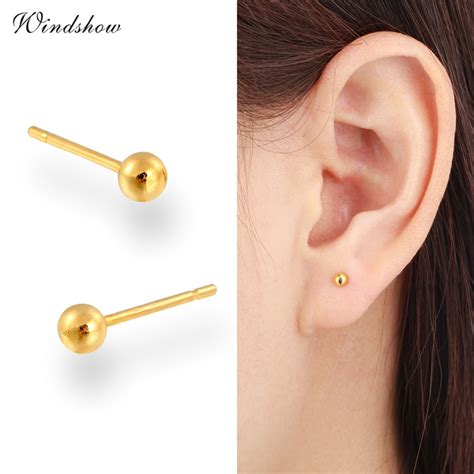 Small Balls Top 7 size balls yellow real gold plated piercing small