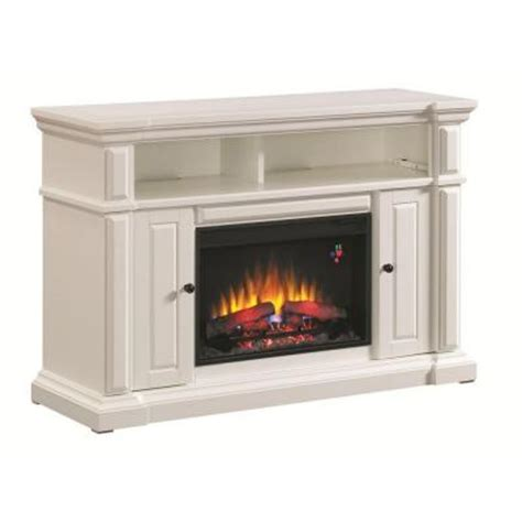 white electric fireplace media console hton bay chatham 56 in media console electric fireplace in white 82698 the home depot