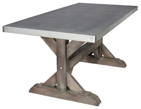 Zinc farm trestle table industrial dining tables by sds designs