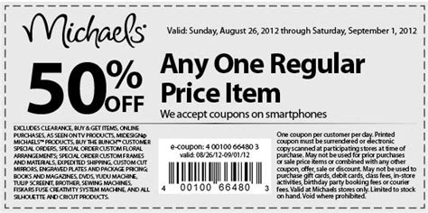 2015 printable michaels coupon 50 off michaels coupons march 2015 coupon for shopping