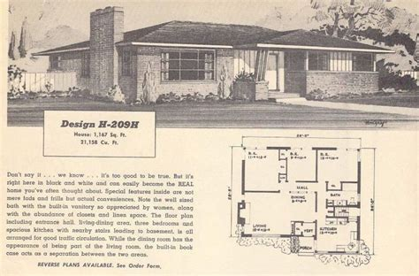 1950s ranch house plans vintage ranch house plans 50s vintage house plans 1950s