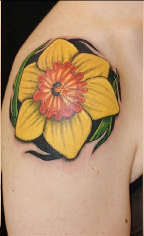 lovely  peaceful daffodil tattoo designs