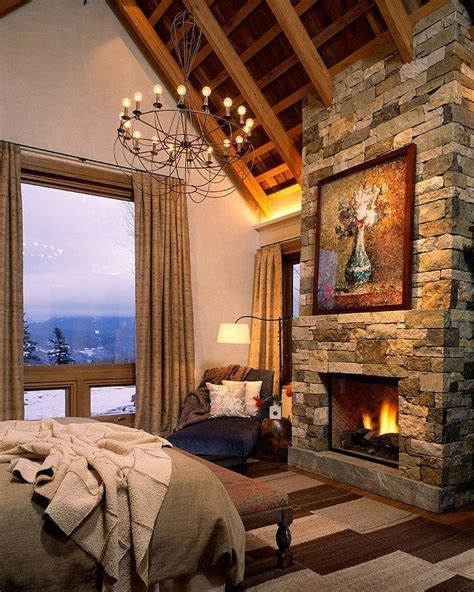 bedroom with fireplace rustic bedroom decorating style decor around the world
