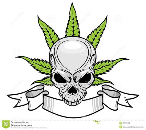 skull and weed stock vector image 38783428