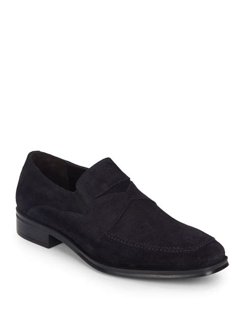 bruno magli suede loafers bruno magli primo suede loafers in blue for lyst