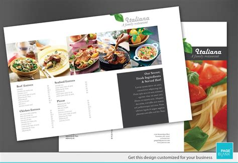 tri fold brochure template for italian restaurant order