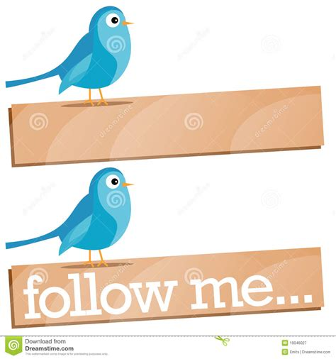 Me Me Me Signed - twitter bird with follow me sign royalty free stock