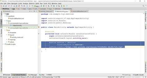 layout xml webview get data from website with webview in android studio