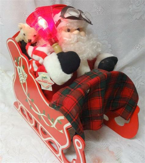motion ettes of christmas figures vintage animated santa claus on sleighs lighted telco motion ettes original tag ebay