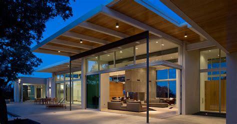 modern house  texas  surrounded  oak trees