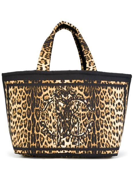 roberto cavalli leopard print tote bag in yellow lyst