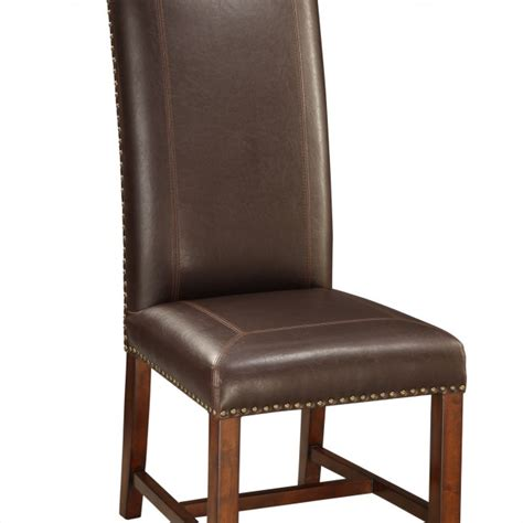 High Back Leather Dining Chairs Top Grain Leather High Back Chair Statement Furnishings Outlet