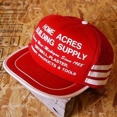 san sun 古着レッドhome acres building supplyメッシュキャップ cap 63の商品