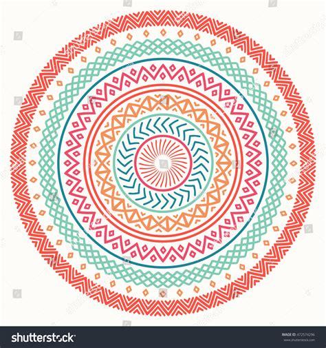 primrose tattoo with geometric border ethnic mandala tribal line stock vector