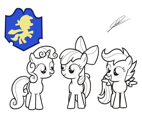 Mlp Fim Cutie Mark Crusaders Lineart By Dsonic720 On Mlp Fim Coloring Pages