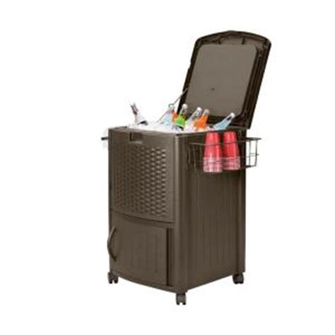 suncast 77 qt resin wicker cooler with cabinet dccw3000hd