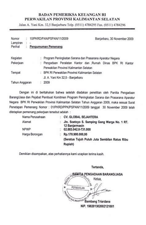 image contoh surat dinas resmi bpk ri