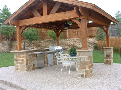 outdoor kitchen roof ideas covered outdoor living spaces standalone shingled roof