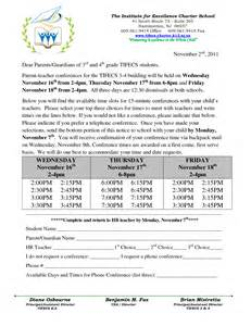 letter to parents template from teachers 7 best images of parent conference letter