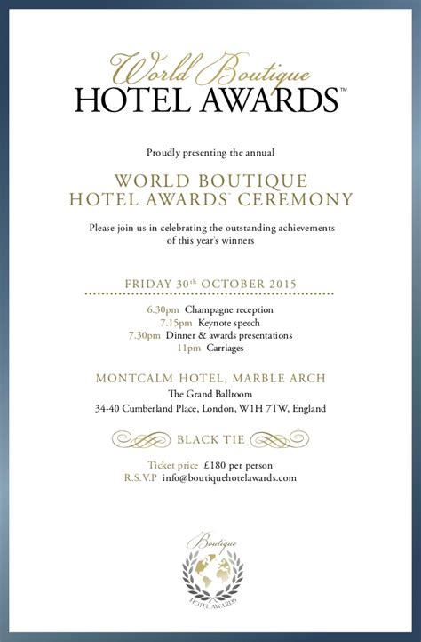 Invitation Letter Hotel Reservation Boutique Hotel Awards 2015 Invitation