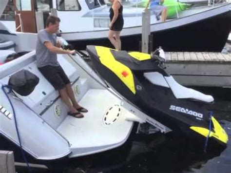 jet ski boat swim platform hurley h3o davit and sea doo spark youtube