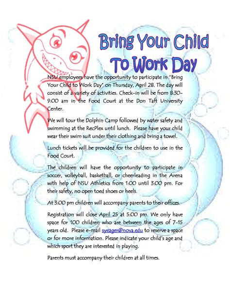 Bring A To Your Day by Nsu To Host Annual Bring Your Child To Work Day Apr 28