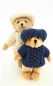 knit sweater pattern for teddy bear teddy bear wearing hand knitted aran sweater and cap by