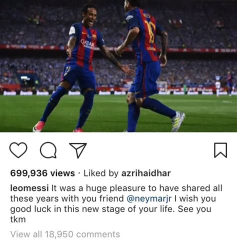 neymar leaves barcelona without its heir to lionel messi messi bids neymar farewell as he leaves barcelona photos