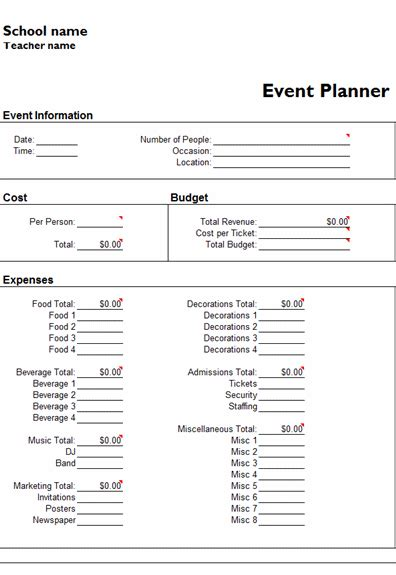free event planner template ms excel templates ready made office templates