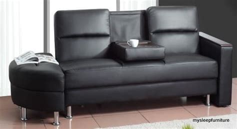 caddy pu leather klik klak sofa bed with storage