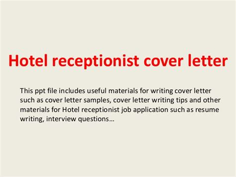 Cover Letter Template For Hotel Receptionist Hotel Receptionist Cover Letter